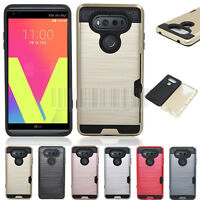 Slim Hybrid Hard Armor Card Holder Case Shockproof Protective Cover For LG V20