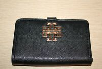 TORY BURCH Pebbled Black Leather Britten Smart Phone Wallet Snap Wristlet EUC