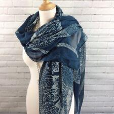 Womens Scarf Pashmina Wrap Dark Blue White Reindeer Print Oversized Large