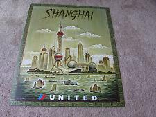UNITED AIRLINE SHANGHAI TRAVEL POSTER 2001 TIM ZELTNER ORIGINAL UAL ISSUE