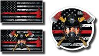 3 Thin Red Line Firefighter Firemen Helmet Axe American Flag Vinyl Decal Sticker