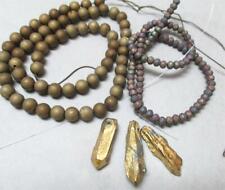 Gold, Titanium coat, Drusy Agate Rounds, 6.5mm +rondelles+Pendants