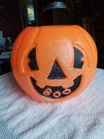 "Halloween Blow Mold ""BOO"" Smile Jack O Lantern Vintage Plastic Candy Bucket"
