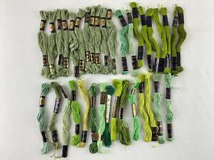 Lot of 35 Green Embroidery Floss Six Strands of DMC, Peri-Lusta, Coats & Clarks