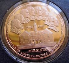 VIRGINIA BICENTENNIAL Medal. FRANKLIN Mint SOLID BRONZE PROOF Uncirculated