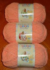 Bernat Baby Blanket Yarn Lot Of 3 Skeins (Baby Peach #03512) 3.5 oz. Skeins