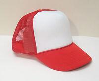Red Trucker Hat - Brand New - Red Net & White Foam Mesh Cap Adjustable Snapback