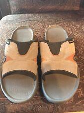 Men's Sz 13 Teva  Suede & Mesh Slide Sandals In Tan