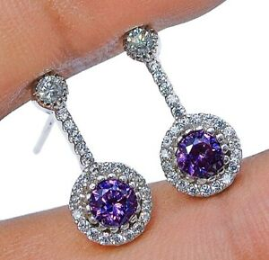 1CT Amethyst & White Topaz 925 Solid Sterling Silver Earrings Jewelry