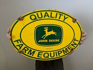 VINTAGE OLD JOHN DEERE FARM TRACTOR GASOLINE OIL PORCELAIN ENAMEL GAS PUMP SIGN