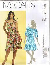 Peasant Top Sleeveless Off Shoulder Dress Ruffle Neck Sew Pattern 18 20 22 24