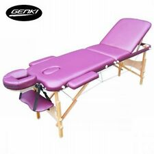 NEW Portable Genki 3-Section Foldable Massage Table Chair Bed Purple w Carry Bag