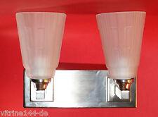BAUHAUS 2flammige WANDLAMPE Designleuchte Silber mit satiniertem Glas Applique