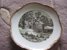 """CURRIER & IVES THE OLD HOMESTEAD IN WINTER PLATE, MADE IN JAPAN, 7 1/4"""" DIAMETER"""