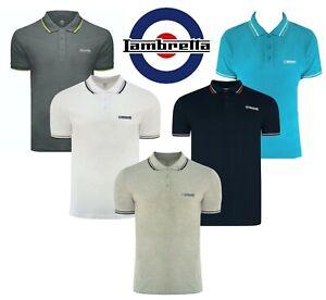 Mens Lambretta Polo T Shirt Designer Branded Top Collared Polo Shirt S-4XL