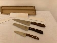 Set of Vintage Molybdenum Vanadium Steel Japan Kitchen Chef Knifes Wooden Handle