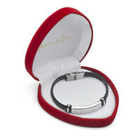 Namens Leder Armband Damen Herren in HerzBox Wunsch Gravur Valentinstag Geschenk