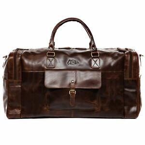 Reisetasche Leder Yale Weekender XXL Sporttasche Herren Schulter Tasche braun