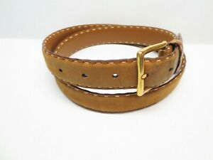 Men's Vintage Gucci Brown Leather Belt with Brass Buckle size 36