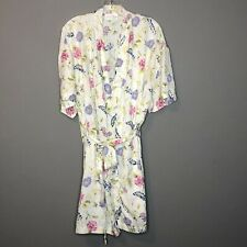 Judith Hart Womens Robe L Vintage 100% Silk Floral Belted Pockets Short Intimate