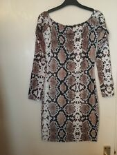 BNWT Size 8 Bodycon Mini Dress Snake Print 3/4 sleeves