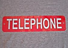 Metal Sign TELEPHONE public pay coin vintage replica phone booth red #3
