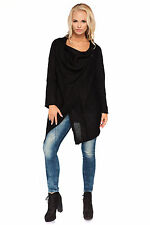 Women's Casual Thick Heavy Warm Cardigan Waterfall Poncho Coat Buttons MV180