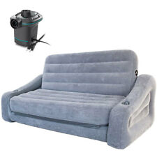 Intex Queen Inflatable Pull Out Sofa Airbed with Quick Fill Electric Air Pump