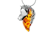 Baltic Amber Sterling Silver 925 Horse Pendant Necklace Jewellery Jewelry +Chain