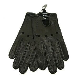 NORDSTROM Genuine Soft Black Leather Perforated Driving Gloves Size L/XL