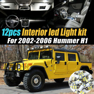 12Pc Super White Car Interior LED Light Bulb Kit for 2002-2006 Hummer H1