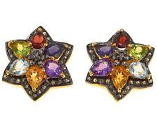 Rarities Champagne Diamond & Multi Gem Stud Two Tone Gold Plated & Black Earring