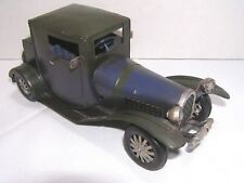 Vintage Touring Car Sedan Blue Green Metal Art Toy Classic Auto Sculpture Decor