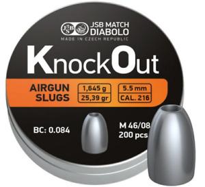 JSB Knock Out Slugs .22 / 5.5mm Hollow Point Airgun PCP Heavy Pellets (.216)