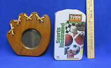 Wooden Baseball Glove Picture Frame & Sports Illustrated Trivia Game Lot of 2