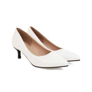 US 4-14 Women's Pointy Toe Slip On Slim Low Heels PU Leather Party Workwear New