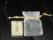 9CT 9K GOLD HEART .02CT DIAMOND VALENTINE'S DAY PENDANT & GOLD PLATED NECK CHAIN