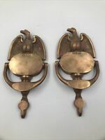 Antique Brass Eagle Door Knocker Set - Ornate Cast Copper Architectural Salvage