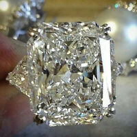 Huge White Sapphire Gems Size 6-10 925 Silver Wedding Engagement Ring Jewelry