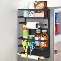 Magnetic Refrigerator Side Hanger Rack Spice Holder Storage Kitchen Tool Black