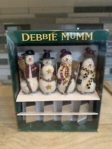 Retired 1999 Debbie Mumm Snowman Set of 4 Cheese Spreaders New in Box