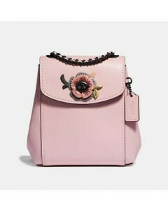 $571 COACH PINK LEATHER PARKER CONVERTIBLE BACKPACK 16 WITH TEA ROSE STONES