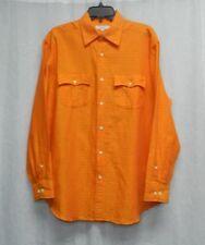 ALEX CANNON NWT Orange Plaid Print Button Front Linen Blend Shirt Mens sz M $59