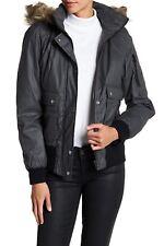 Sebby Waxy Faux Shearling & Faux Fur Trim Hooded Bomber Grey M Medium NEW AUTH