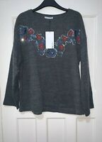 ZARA GREY EMBROIDERED SEQUINS KNIT SWEATER JUMPER SIZE L BNWT