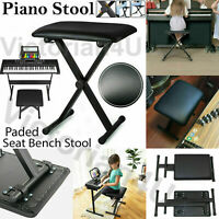 Folding Keyboard Stool Piano Bench Padded Seat X Frame Adjustable Height Chair