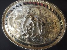 "MONTANA SILVERSMITH ""KNEELING  COWBOY AND HIS HORSE "" BUCKLE"