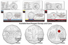 2014 50c Australia at War series - Flying - Gallipoli - Western Front - 3 coins