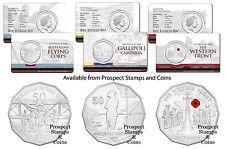 2014 50c Australia at War series - Flying - Gallipoli - Western Front - 3 coins