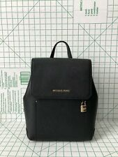 NWT Michael Kors Hayes Medium Leather Backpack Book Bag In Black
